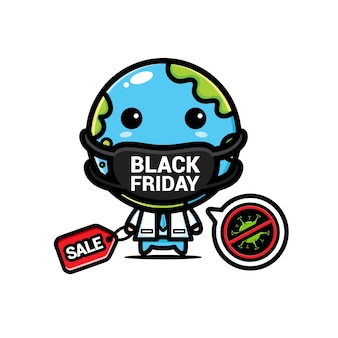 Earth with a mask that reads black friday