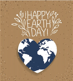 Earth with shape heart day celebration