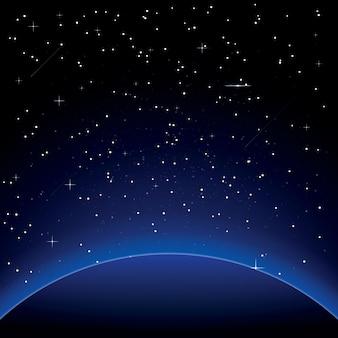 Земля со звездами. космос. иллюстрация.