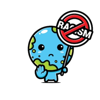 Earth   with a symbol of racism stopped