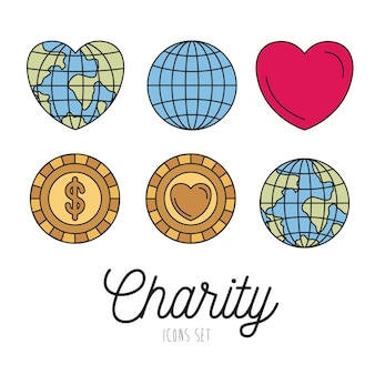 Earth world and coins with heart shape charity symbols