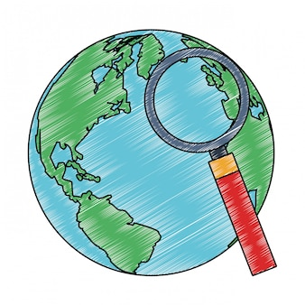 Earth world and magnifying glass scribble