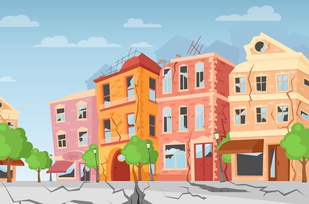 지진 도시, 지상 틈새. 자연 재해 개념, 대격변, 재앙. 플랫 스타일.