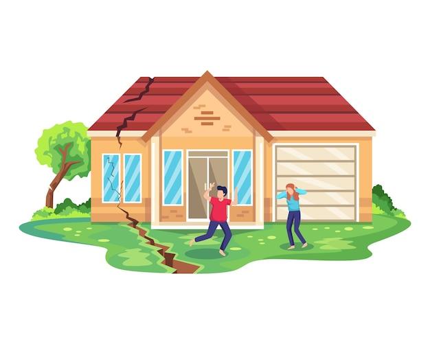 지진 재해 그림. 파괴 공사에서 탈출하는 사람들을 실행합니다. 자연 재해 또는 재난, 지진 및 주택 파괴. 집에 지진 피해. 플랫 스타일