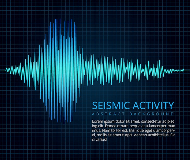Earthquake frequency wave graph, seismic activity.