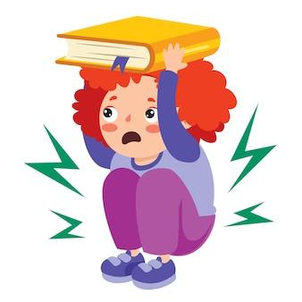 Сцена землетрясения с мультипликационным персонажем