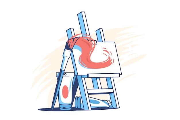 Мольберт для рисования плоский стиль иллюстрации