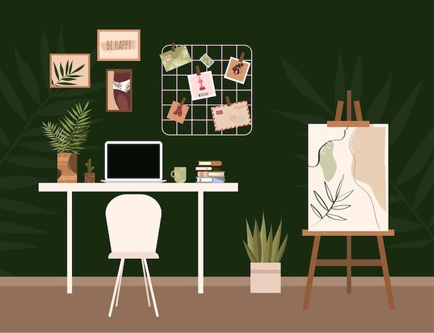Мольберт в интерьере. интерьер домашнего офиса. рабочее место дом. модный лофт. рабочее место для художника.