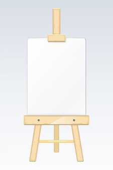 Easel, painting desk, drawing board with blank white canvas