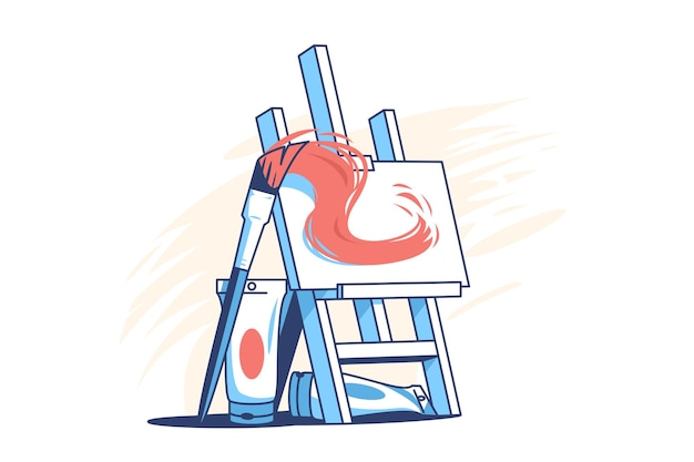 Easel for painting flat style illustration