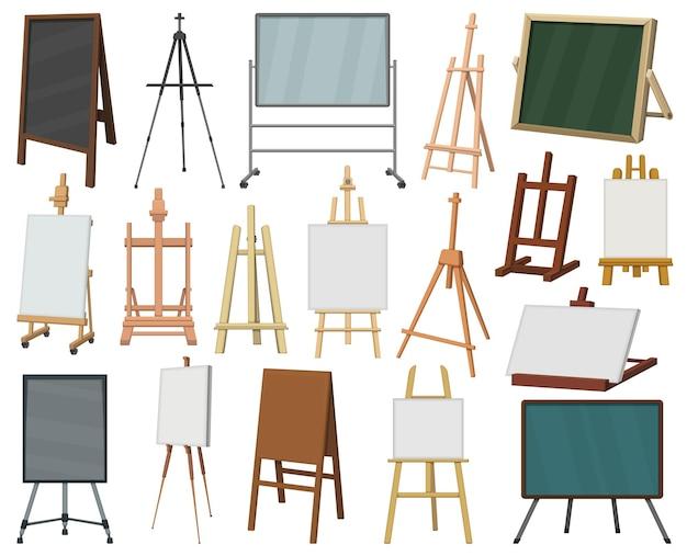 Мольберт векторный мультфильм икона set. коллекция векторные иллюстрации мольберт на белом фоне. изолированный набор иконок иллюстрации шаржа холста на стенде для веб-дизайна.