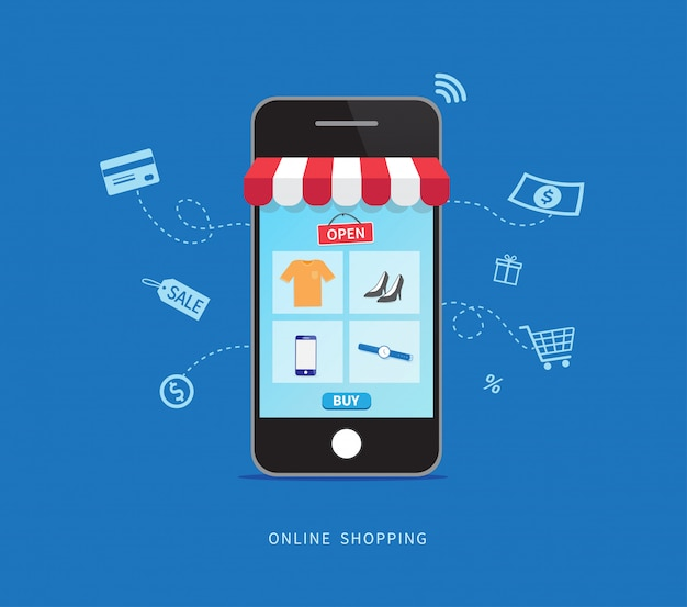 Easily online shopping with smartphone.