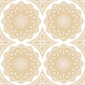 East delicate seamless pattern with mandala - round ornament