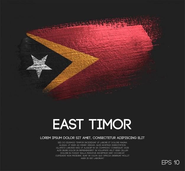 East timor flag made of glitter sparkle brush paint