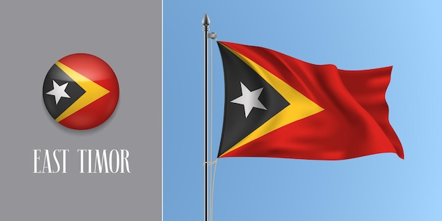 East timor waving flag on flagpole and round icon vector illustration. realistic 3d mockup with design of flag and circle button