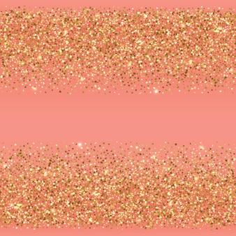 ゴールドの休日のオブジェクトと東のシームレスな地平線の境界線はピンクの背景にきらめきます