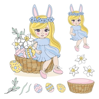Easter baby great religious holiday vector illustration set