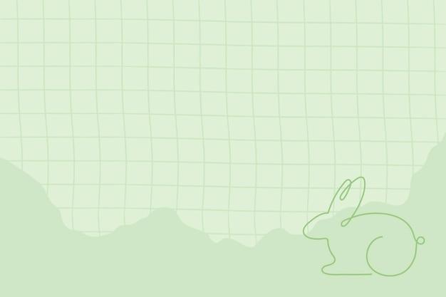 Easter background, green line art bunny design vector