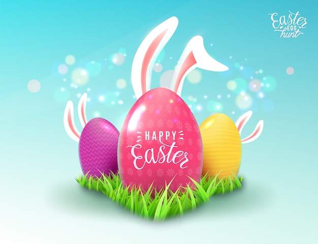 Easter background in realistic style with green grass, color decorate eggs, cartoon easter bunny ears, magic light effect isolated