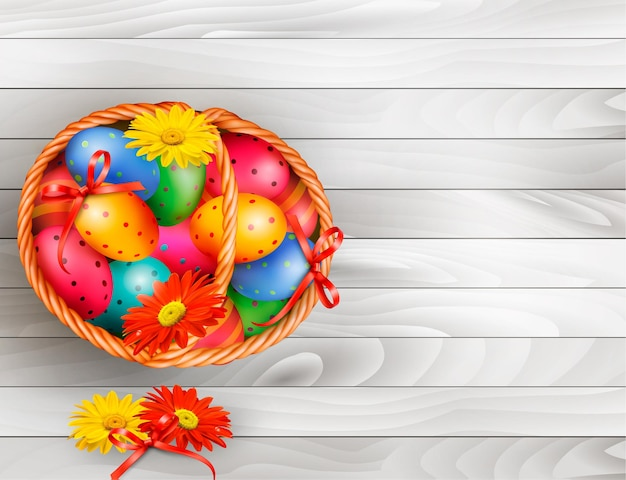 Easter background with color easter eggs in basket on wooden table .