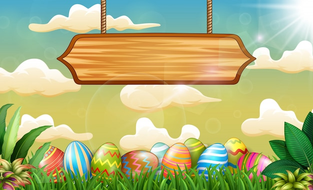 Easter background with colorful eggs and blank sign