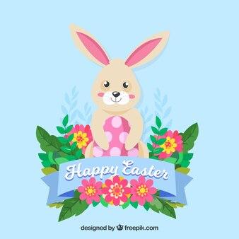 かわいいウサギとイースターの背景