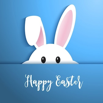 Easter background with cute rabbit peeping out