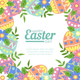 Easter background with eggs and leaves