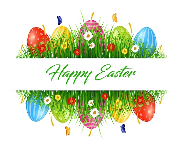 Easter background with eggs in grass