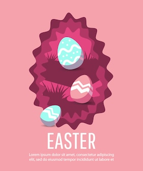Easter background with modern colorful eggs.