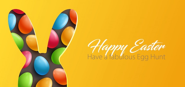 Easter background with paper cut design element