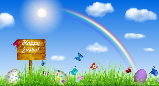 Easter background with sky and wooden pointer