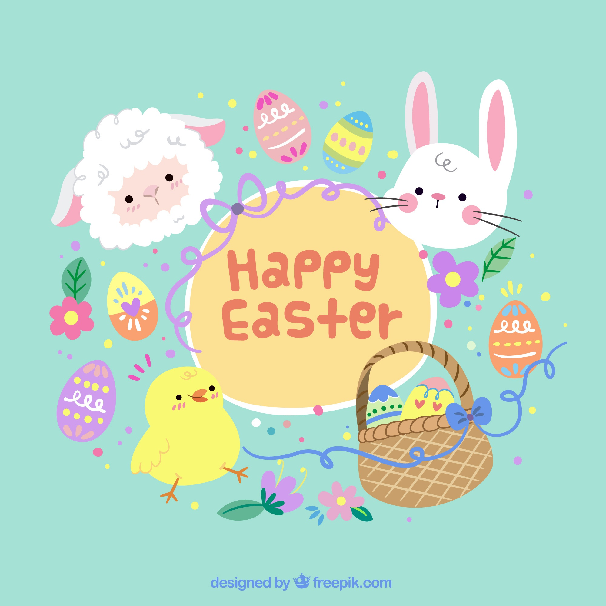 Easter background with traditional objects