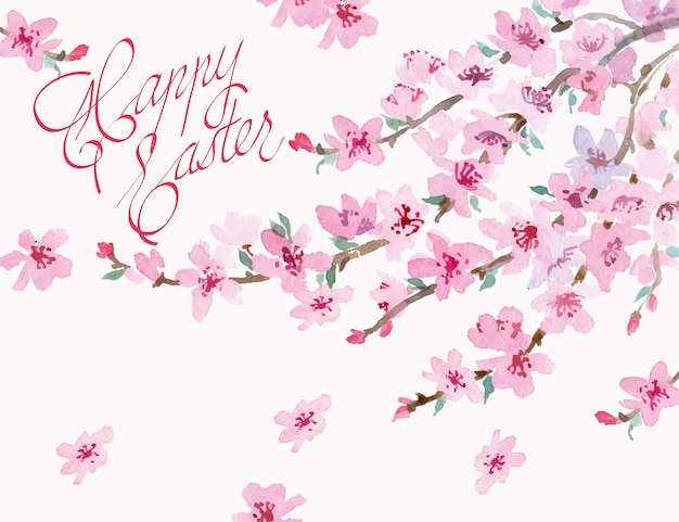 Easter background with watercolor blossoming cherry branch. vector illustration