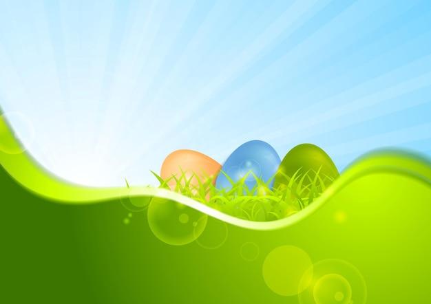 Пасхальный фон с волной и солнцем. векторный дизайн