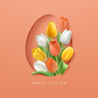 Easter background with white yellow and orange color tulips in egg shape