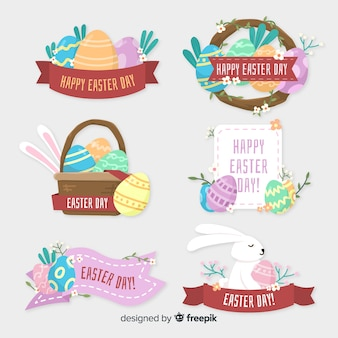 Easter badges of different shapes collection