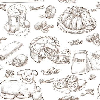 Easter baking seamless vector sketch hand drawing