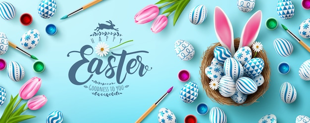 Easter  banner template with easter eggs in the nest