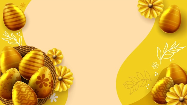 Modello della bandiera di pasqua con le uova di pasqua nel nido