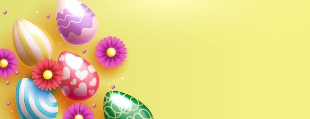 Modello della bandiera di pasqua con le uova di pasqua