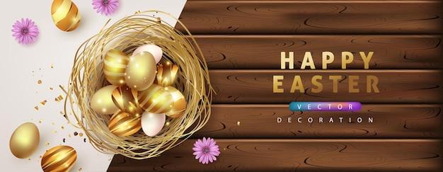 Шаблон баннера пасхи с роскошными золотыми яйцами.