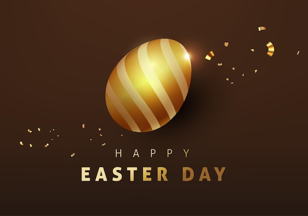 Easter banner  template with luxury   golden eggs.