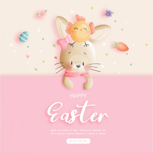 Easter banner with cute bunny and easter eggs.