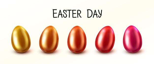さまざまな色の卵とイースターバナー。イースターの日。白い背景で隔離の異なるテクスチャのイースターエッグ。ベクトルイラスト