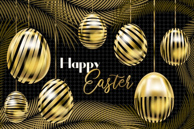 Easter banner with golden eggs on the ropes and palm