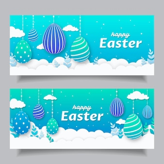 Easter banners in paper style