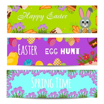 Easter banners vector illustration.