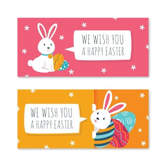 Easter banners with rabbits and speech bubbles