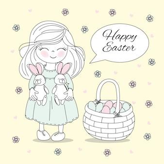 Easter basket holiday vector illustration set